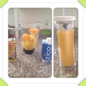 Piña y mango congelados, jugo de piña, agua de coco y proteína.