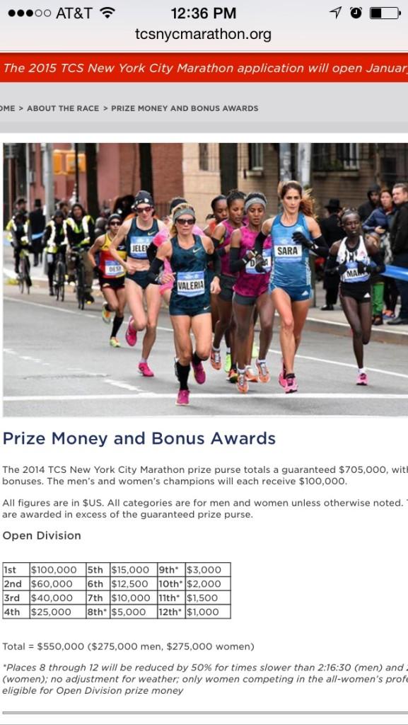Premiación Maraton de Nueva York