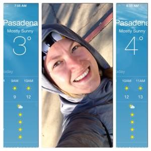 Este día corrí 8 millas y esas fueron las temperaturas al iniciar y al terminar de correr :( No sentía los dedos de los pies, los tenía casi congelados.  Al día siguiente sentía que me había agarrado los muslos a garrotazos!
