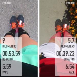 A la izquierda el entrenamiento del jueves y a la derecha el del domingo (el ritmo de recuperación es bastante lento) - Como pueden ver, hay veces que no parezco un payasito y sí logro coordinar bien mis colores 😆