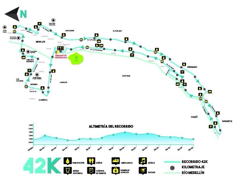 Tenemos unas lomas interesantes en los primeros.... 25kms! jajajaja más de la mitad de la carrera es en ascenso. ¡Recorriddo retador!