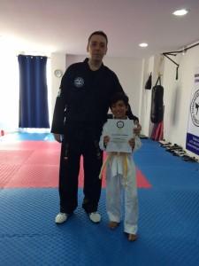 Alejo durante su primer examen de Taekwondo.