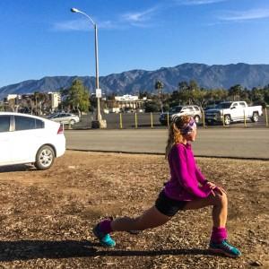 Estirando después del entreno de 29 kilómetros