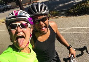 El domingo durante el recorrido en la bici.
